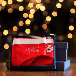 Sous-vêtements Femme - La Louison oh oh oh Noël - Culotte Rouge Edition limitée brodé argent