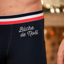 Sous-vêtements Homme - Le Marius bûche de Noël - Boxer marine brodé