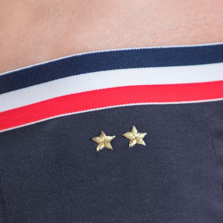 Marineblaue Trunkshorts mit Stickerei