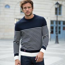 Le Marinière - Pull mixte en laine marinière marine