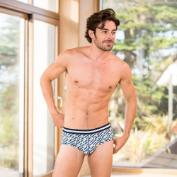 Underwear for Him - Le terrible REGATTA - White brief with print