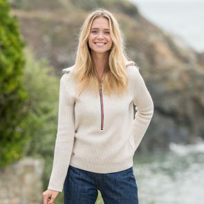 dfc97d5ec8af56 JUMPER - La marcy SAND COLOUR - Sand coloured pullover for her