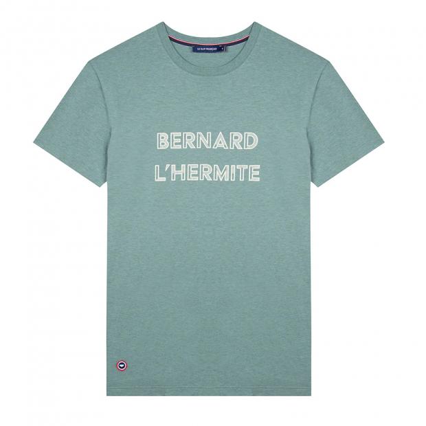 Khakifarbenes T-Shirt mit Siebdruck