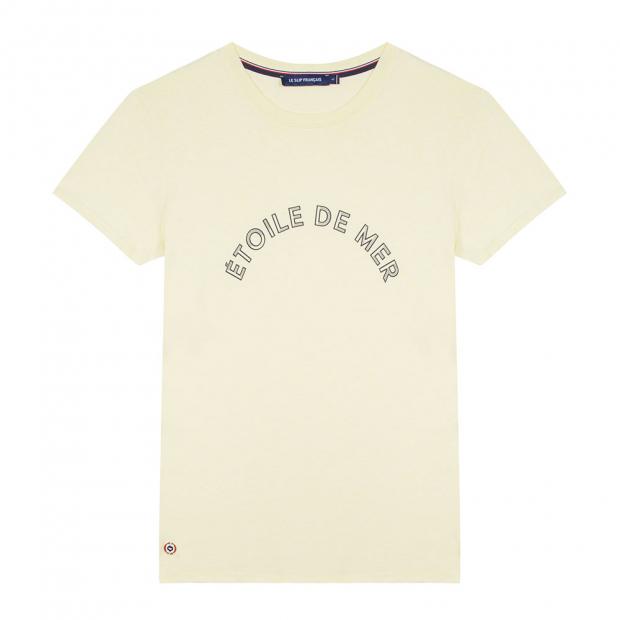 Gelbes T-Shirt mit Siebdruck