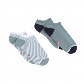 78cc799dcd5 Socquettes Femme - Les Jo Duo Vert de gris   rayés - Duo de chaussettes