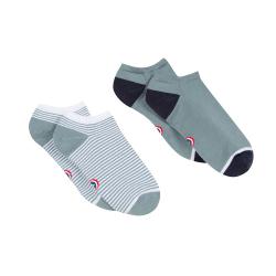 Les Jo Duo Vert de gris / rayés - Duo de chaussettes