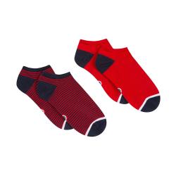 Les Jo Duo Rouge / rayées - Duo de chaussettes