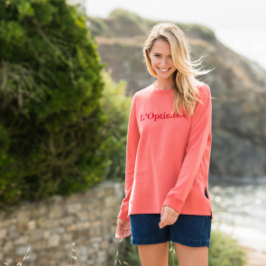 Sweat-shirt corail 100% coton