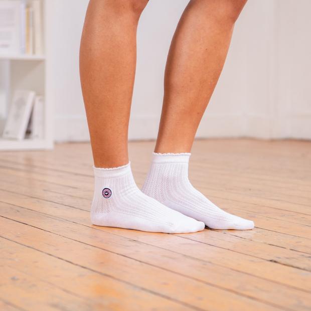 Chaussettes courtes à croquet en coton