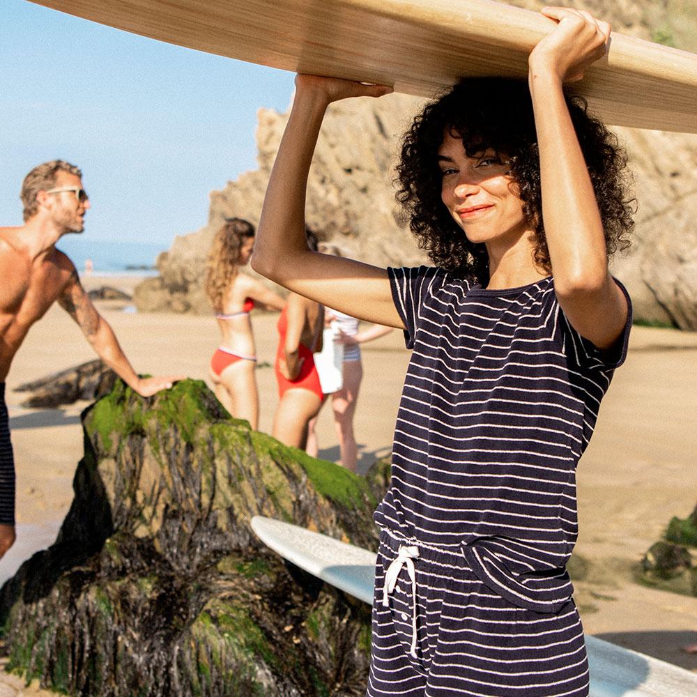 La Rita Rayée Marine - Bas pyjama raye marine