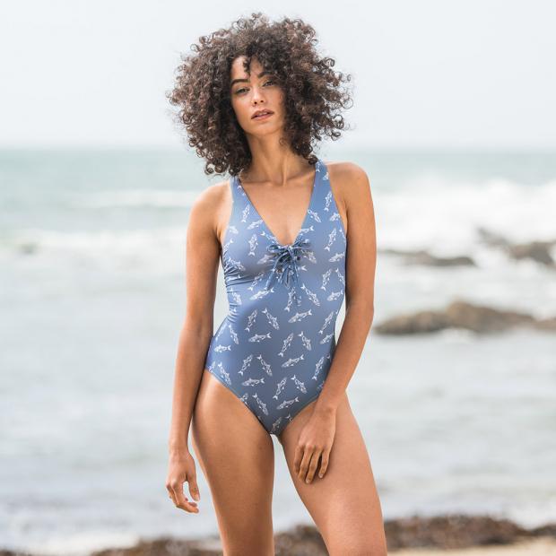 Swimsuit with sardine print