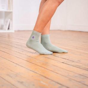 ddc5c3124b7 Chaussettes Femme - Les Lucie Lurex Kaki - Chaussettes Lurex kaki