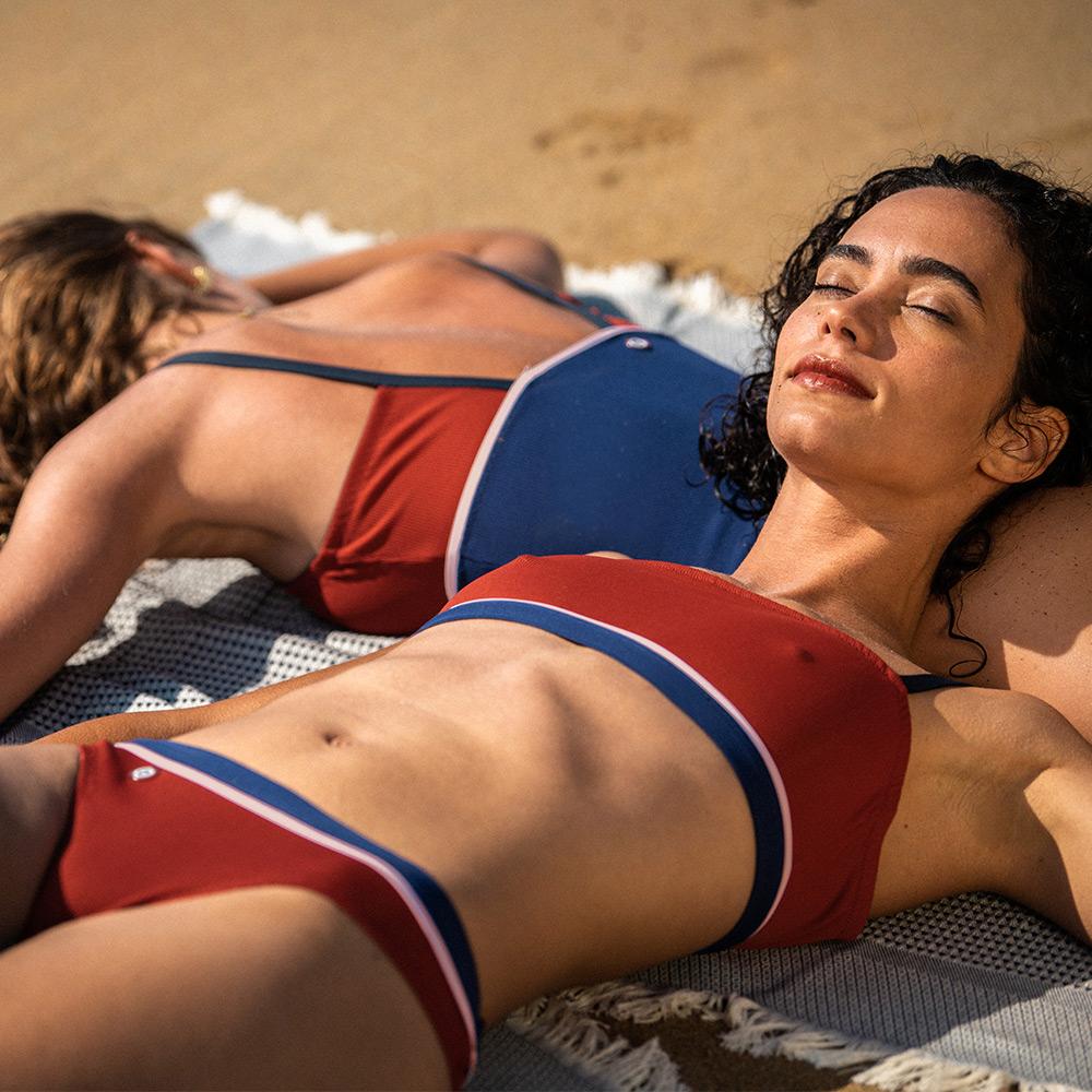 La recif ROUGET/MARINE/ECRU - Bikini ROUGET/MARINE/ECRU