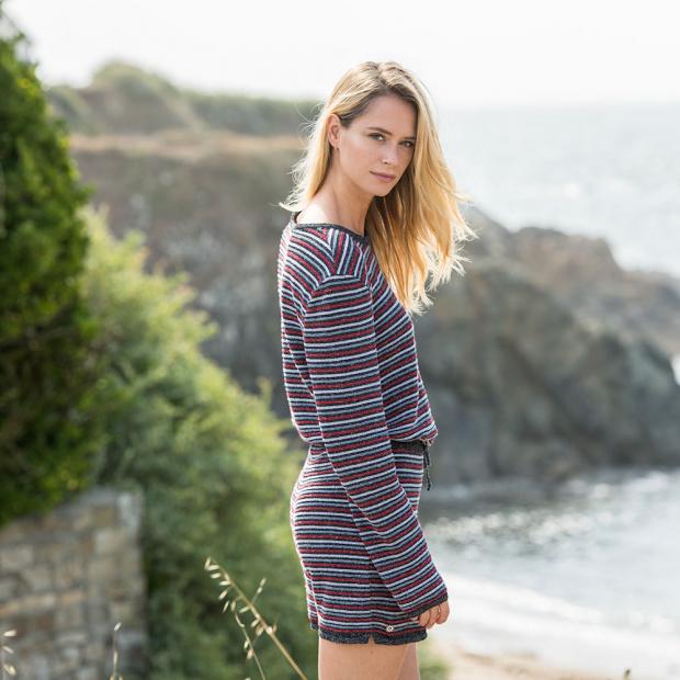 Pull tricot en lin et polyamide