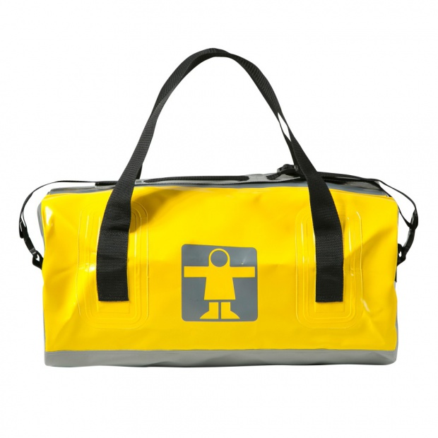Yellow duffel bag