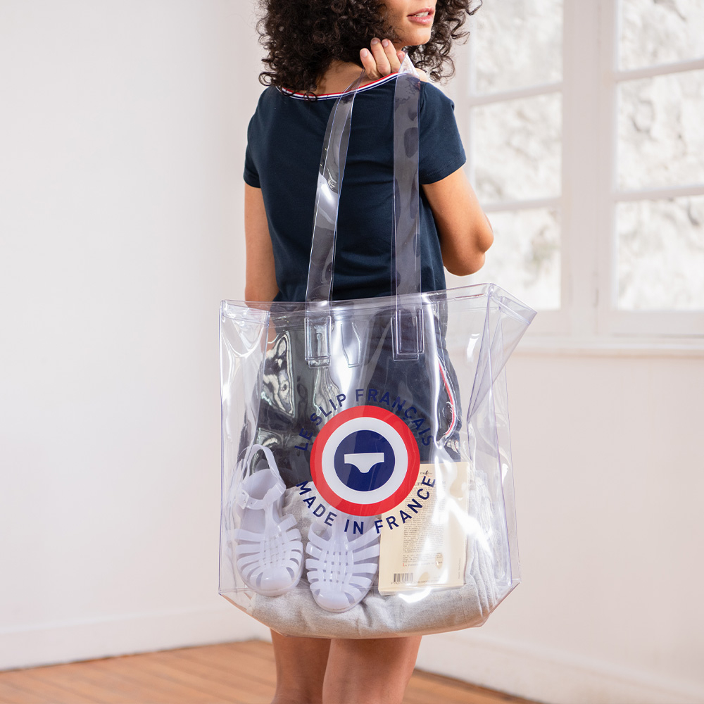 Cabas transparent cocarde - Sac transparent cocarde