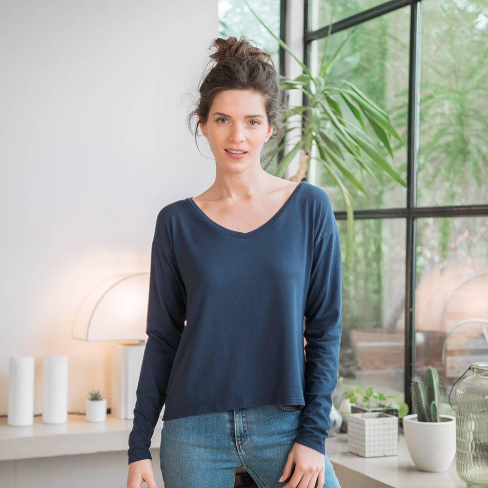 La Marthe bleue marine - T-shirt manches longues