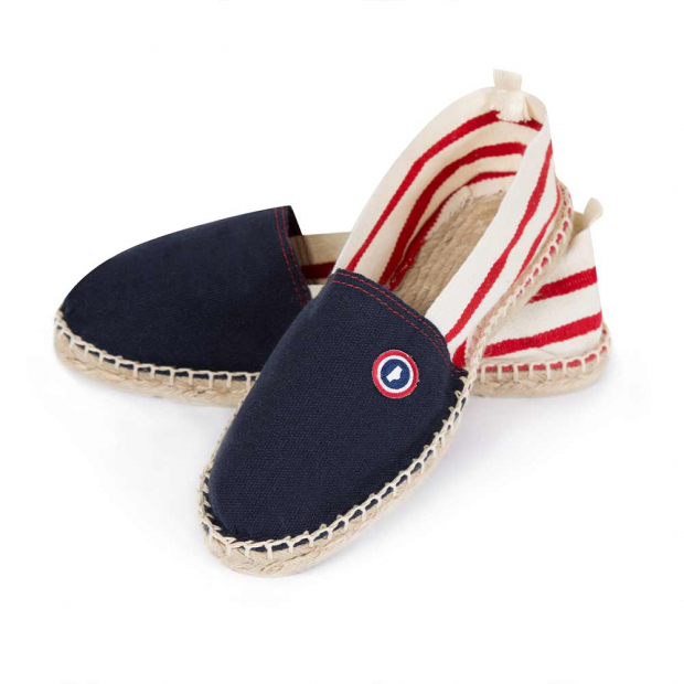 Espadrilles in blue / red striped