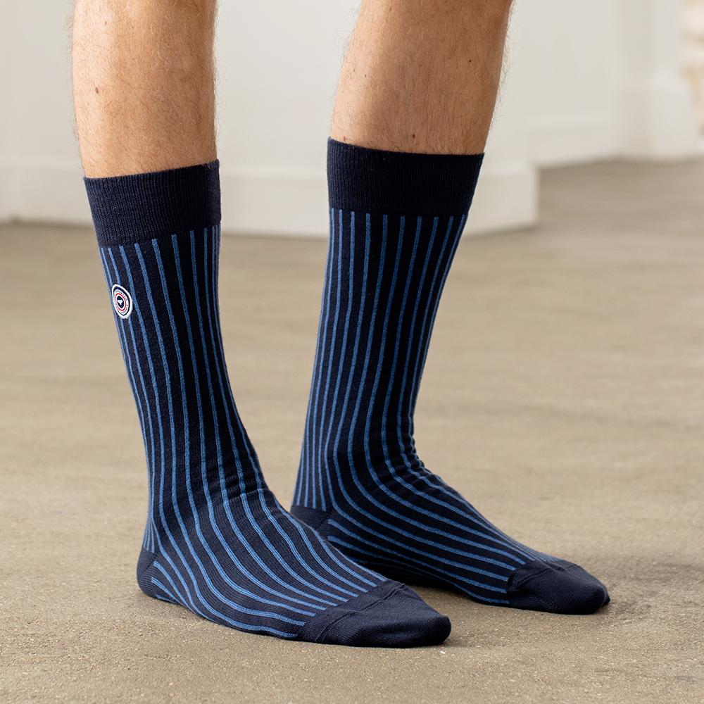 Les lucas rayées bleues - chaussettes mixtes