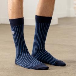 Les Lucas rayées bleues - chaussettes mi-hautes