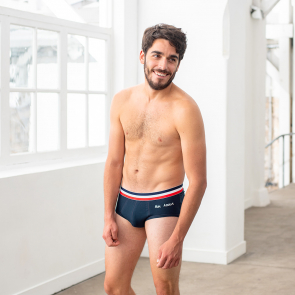 Blue brief with embroidery