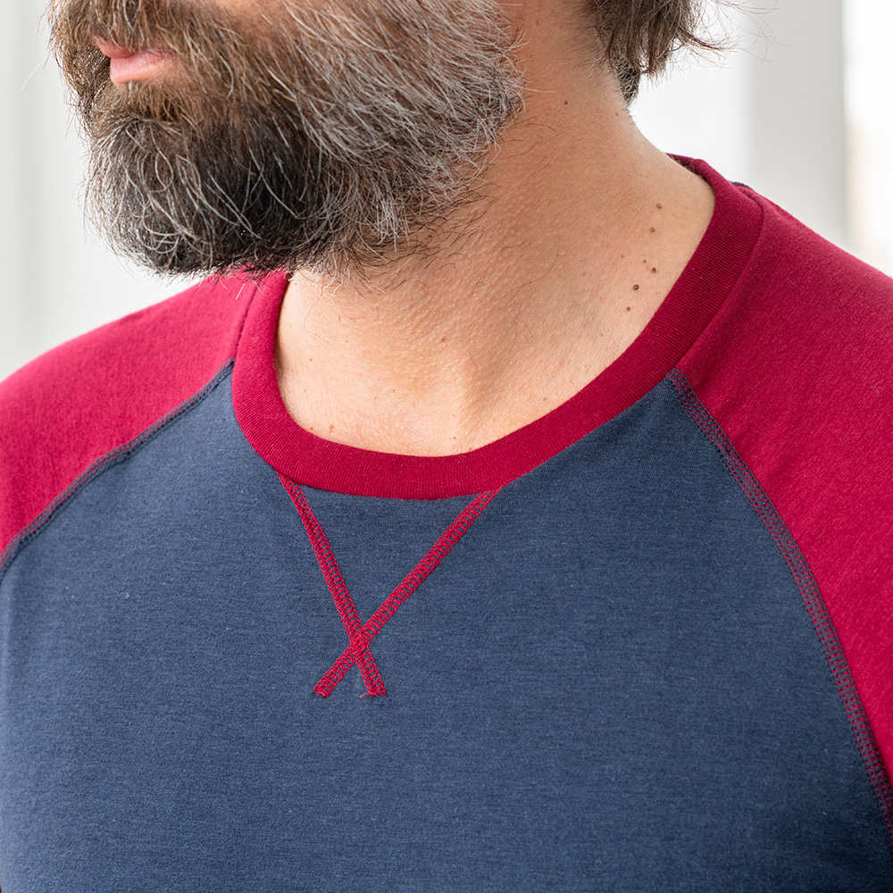 Le Bobby - T-shirt manches longues modal bordeaux marine