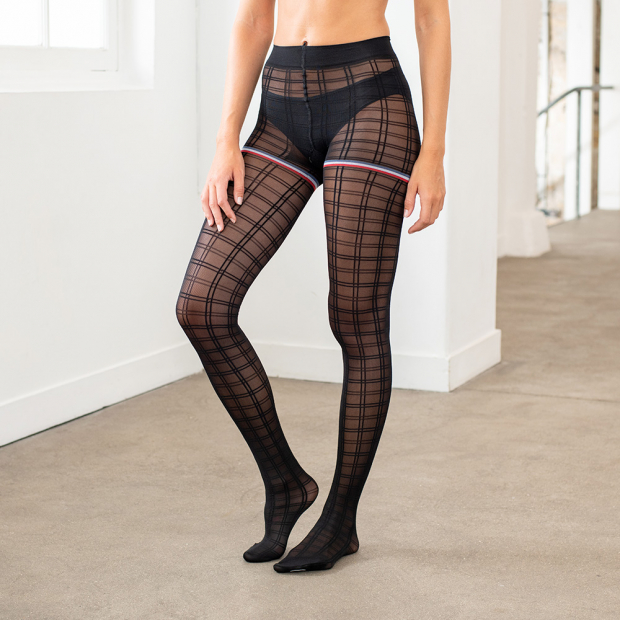 Collants motif carreaux