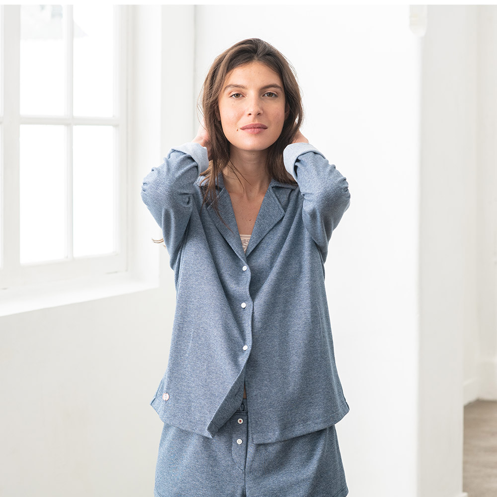 Pyjama Haut Femme Bleu Jean Chine Le Slip Français