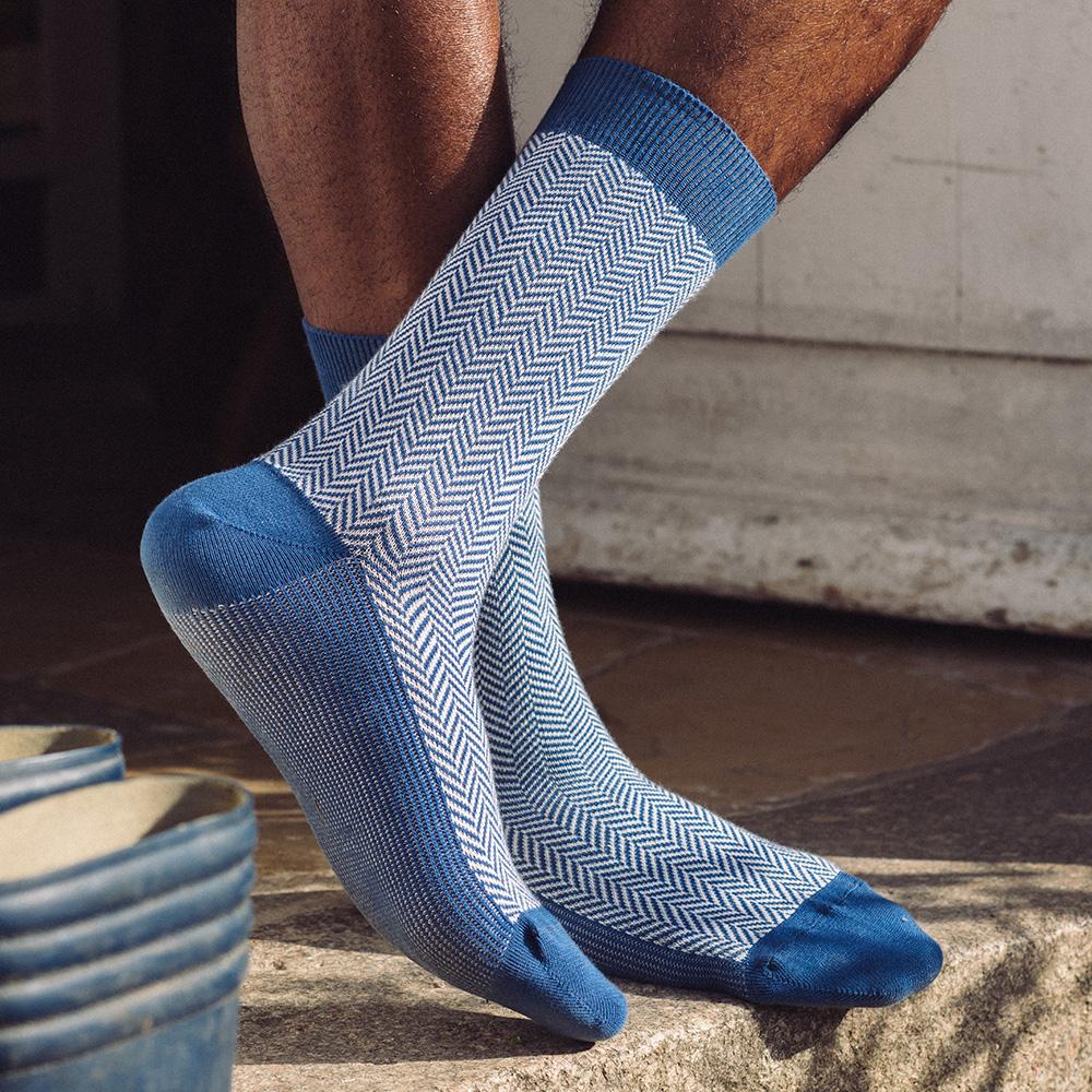 Les Lucas - Chaussettes chevron bleu jean