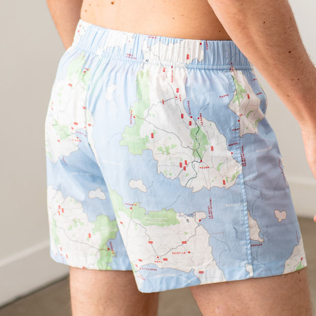 Boxershort with map print of the normandy region