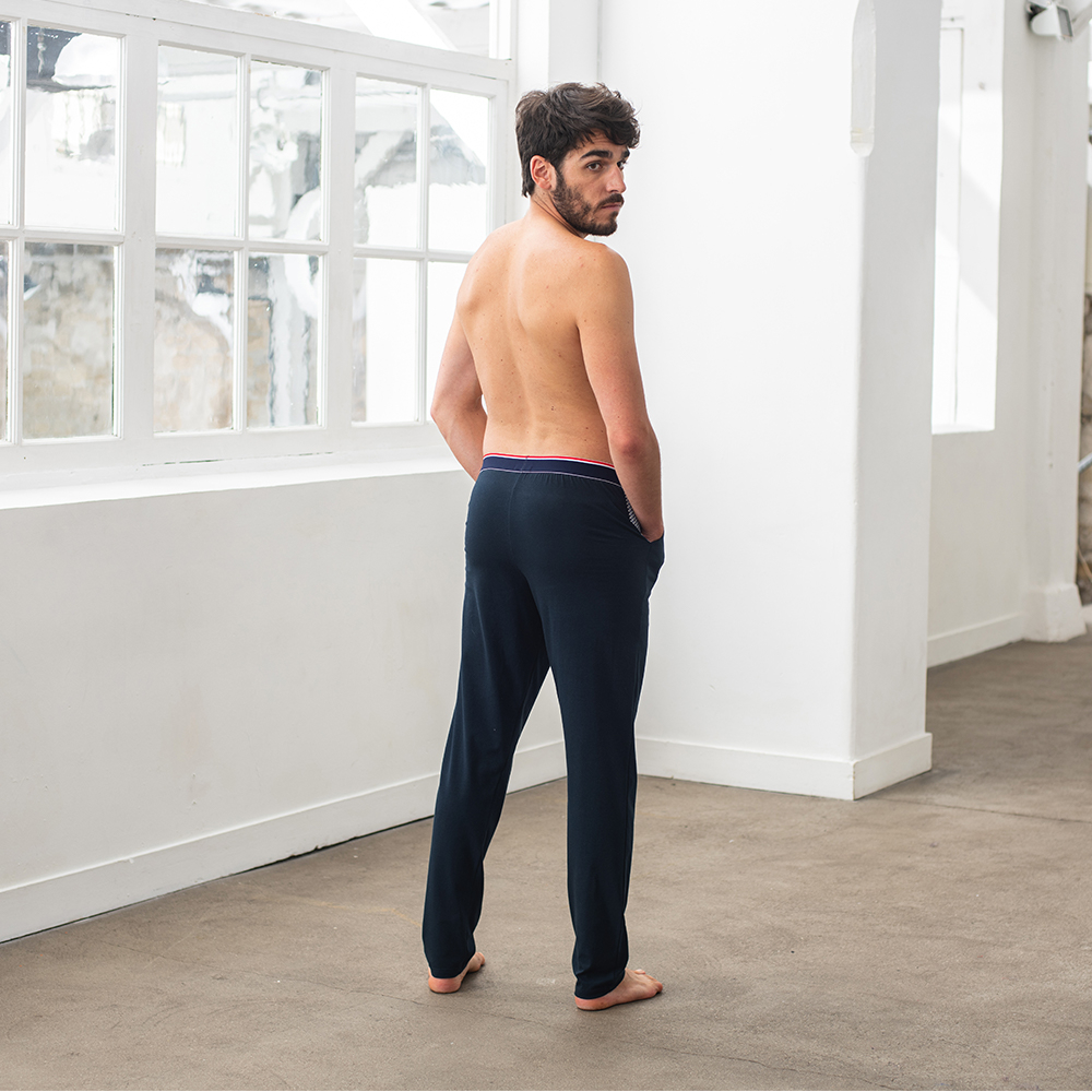 Le Toudou - bas de pyjama marine chevron
