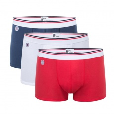 3 pack 100% cotton Boxer Briefs - Blue/White/Red