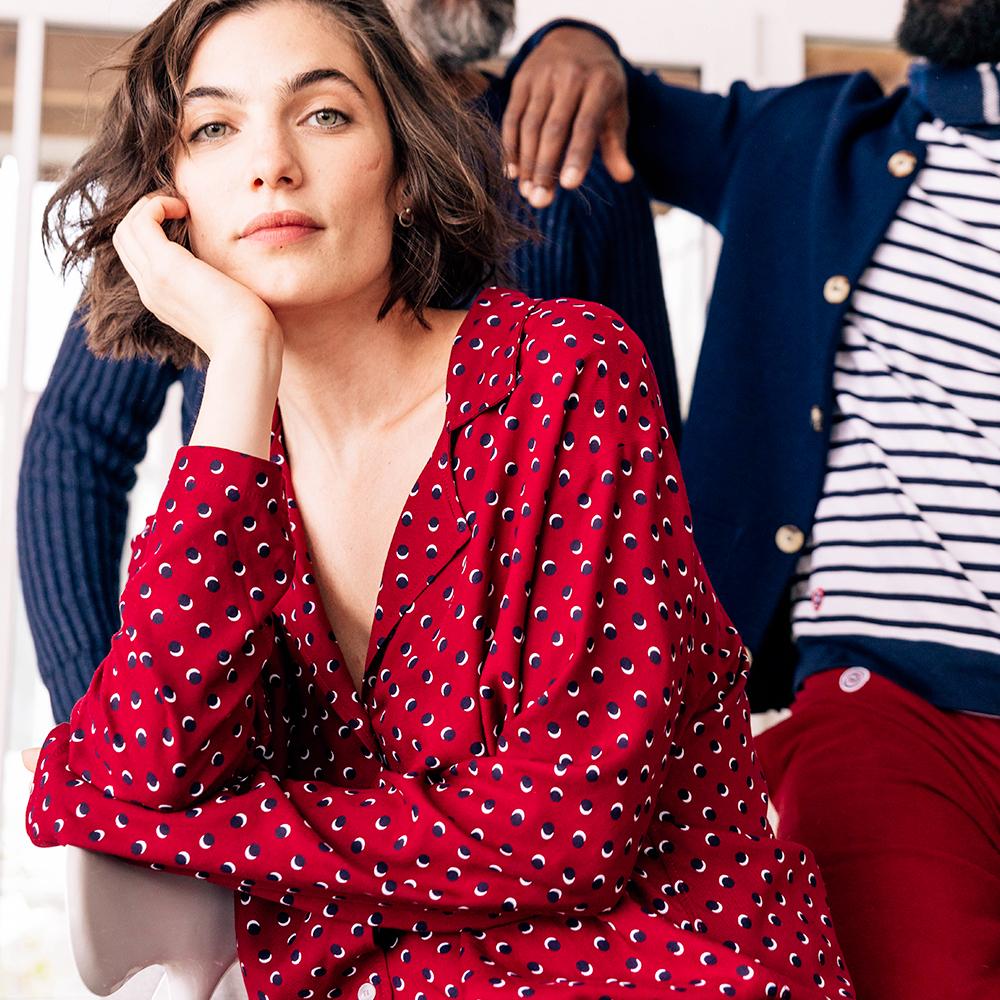Haut Pyjama Femme La Clementine Petits Pois Bordeaux Le Slip Français