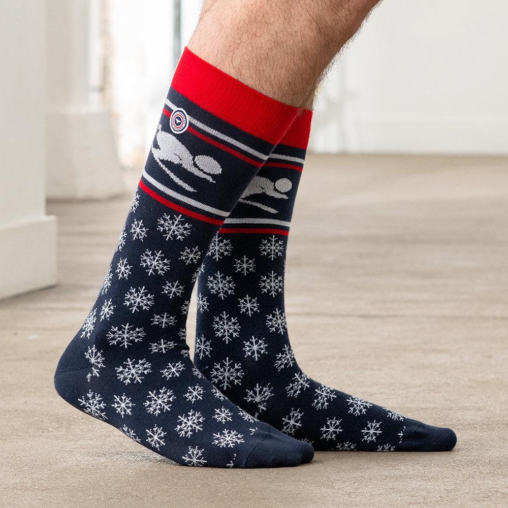 Les Denis - chaussettes marine flocon