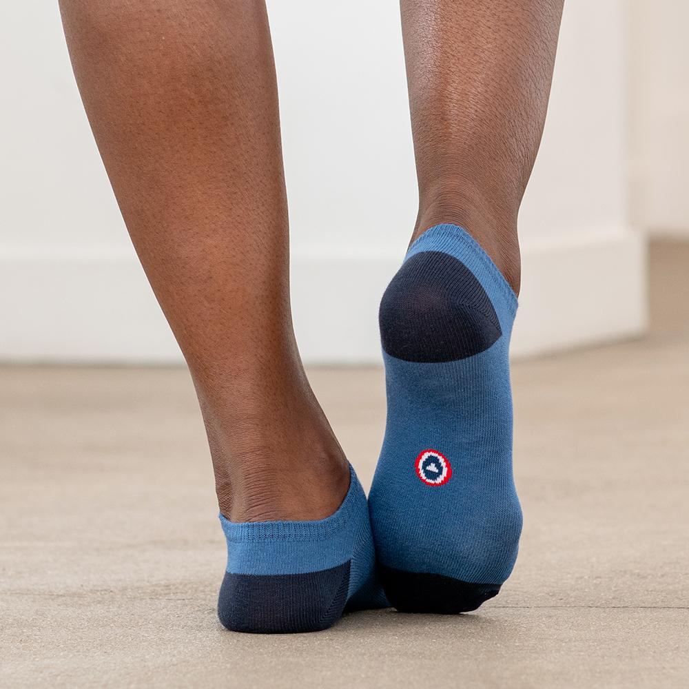 Les Jo duo - socquettes bleu jean/bordeaux