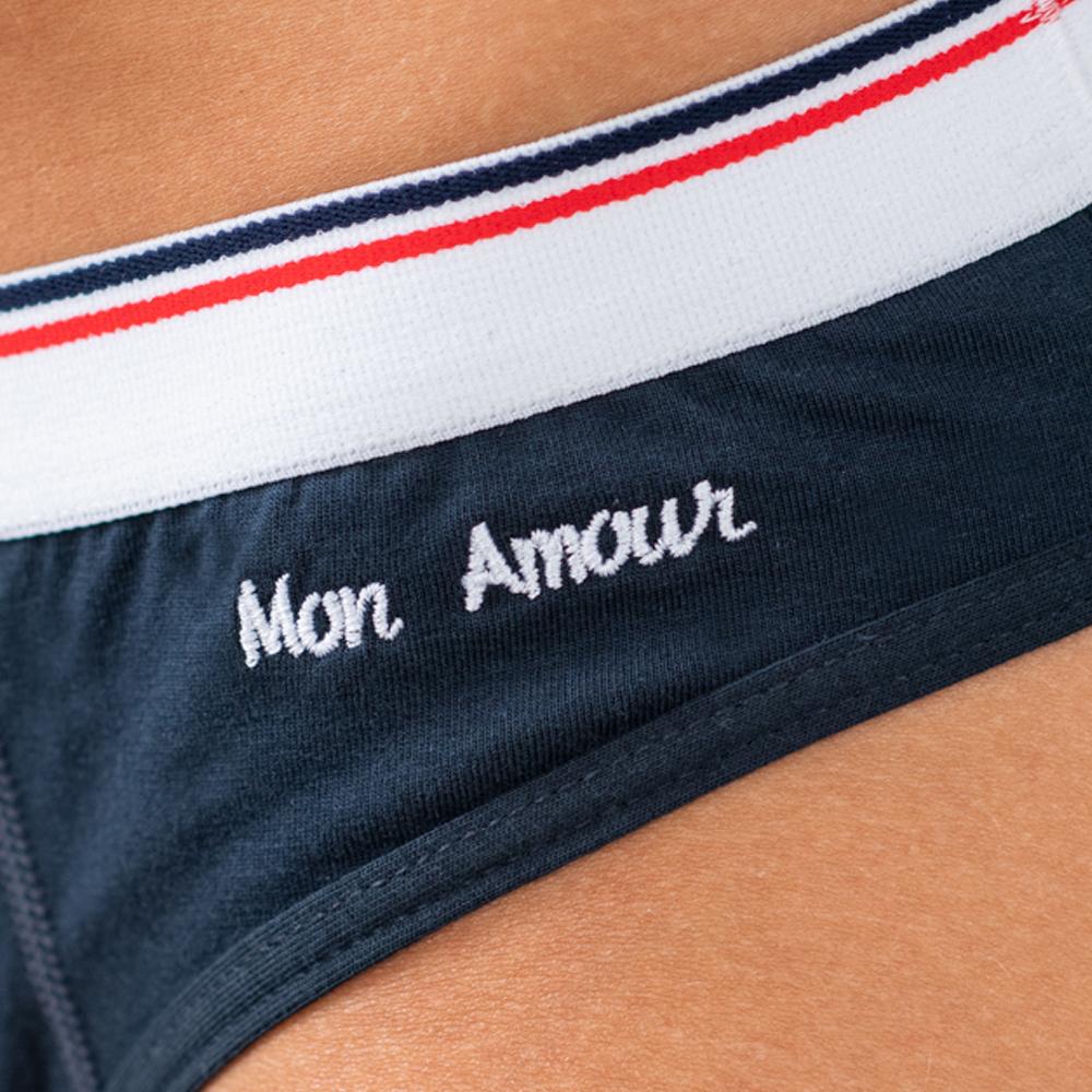 La Louison Mon Amour - Culotte marine brodée Mon Amour