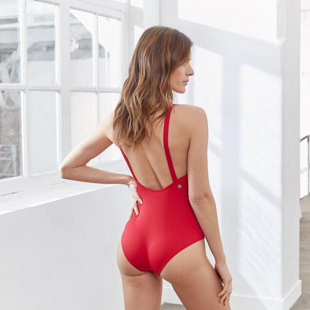 Red swimsuit with buttons