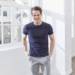 Le Jean marine - T-shirt Bleu col rond