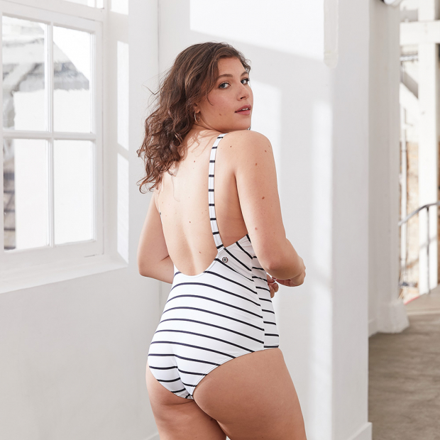 White striped swimsuit with buttons