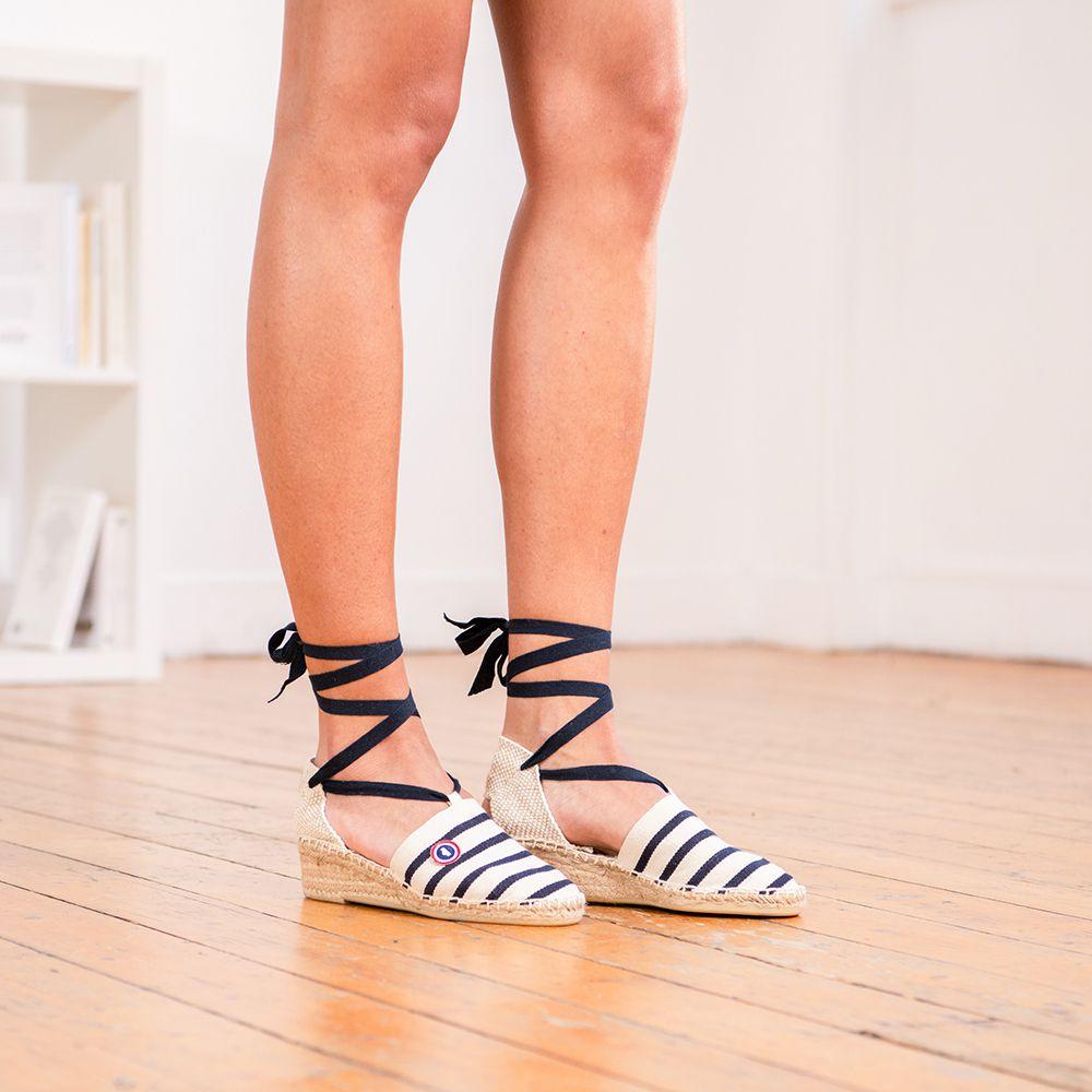 Chaussure Mixte Ecru/Marine Raye Le Slip Français