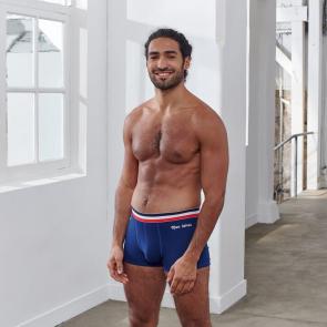 """Boxer court en coton uni brodé """"Mon Héros"""""""