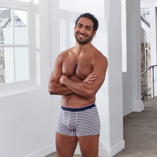 Boxer court rayé en coton bio
