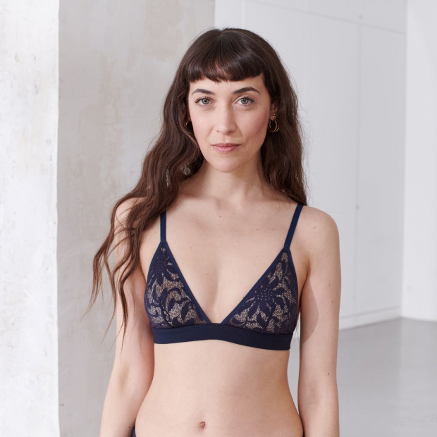 Triangle bra from recycled lace