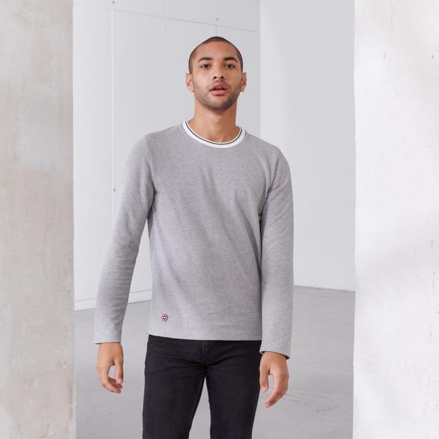 T-shirt à manches longues en piqué de coton recyclé & polyester recyclé