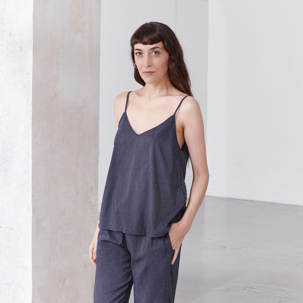Pyjama Haut Femme Cordelettes Marine Le Slip Français