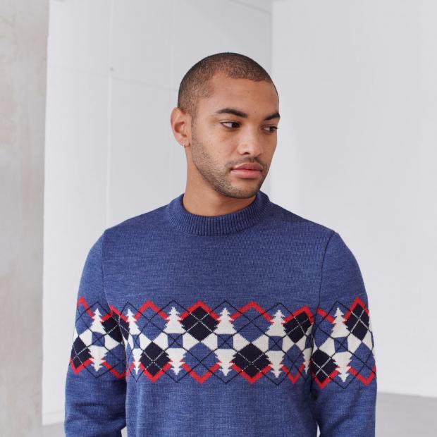 Pull en laine mérinos avec jacquard placé