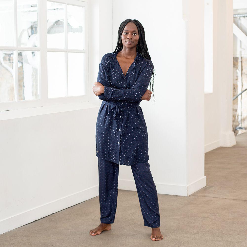 Pyjama Haut Femme Petits Pois Marine Le Slip Français
