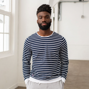 Blue-white striped t-shirt