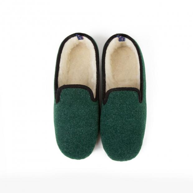 Chaussons en laine avec semelle caoutchouc