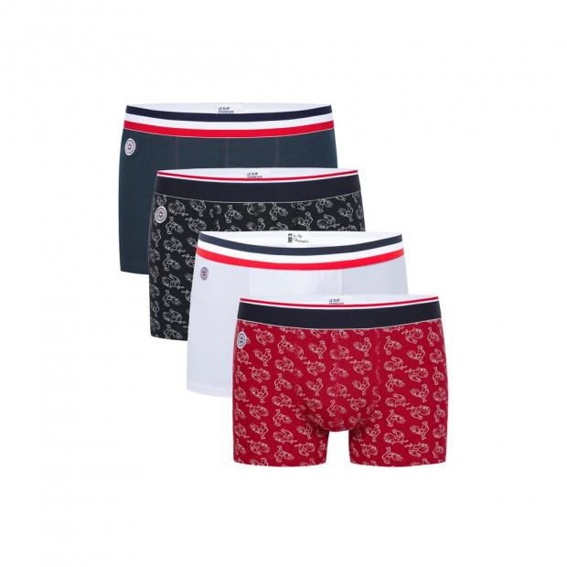 Quatro de boxers courts imprimés et unis en coton